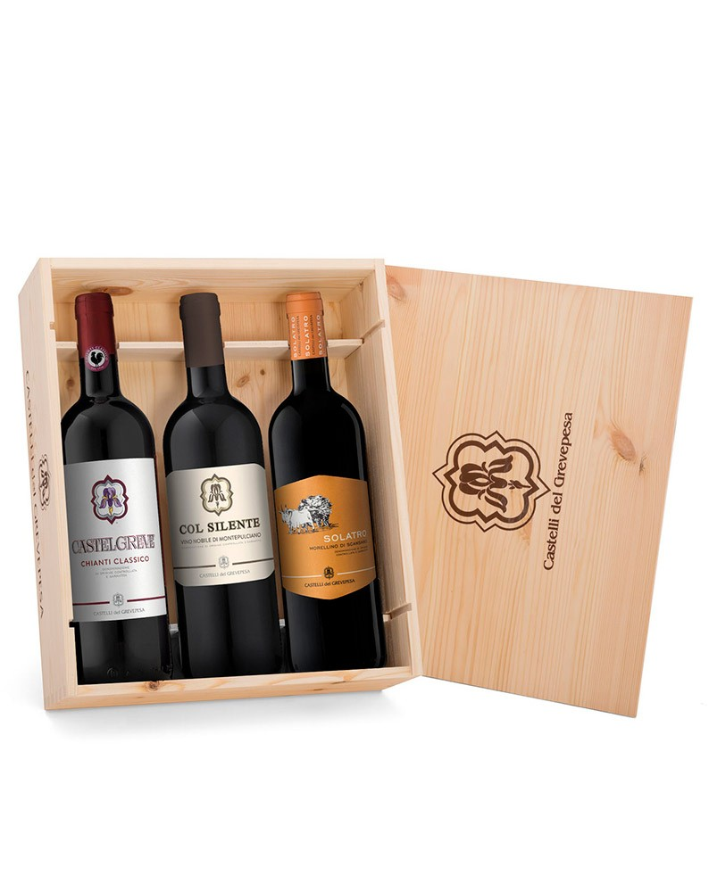 """""""3 Sangiovese"""" with wooden case"""